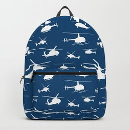 Helicopter Silhouettes on Blue Backpack