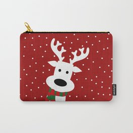 Reindeer in a snowy day (red) Carry-All Pouch