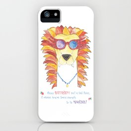 Lion in pink glasses iPhone Case