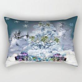 Snowy Blue Christmas Scene Rectangular Pillow
