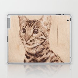 Bengal Cat Portrait - Drawing by Burning on Wood - Pyrography art Laptop & iPad Skin