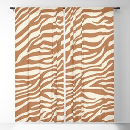 Brown Zebra Animal Print Blackout Curtain
