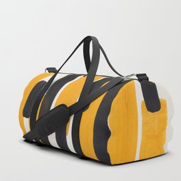 Mid Century Modern Abstract Painting Antique Yellow Black Bumble Bee Stripes Duffle Bag