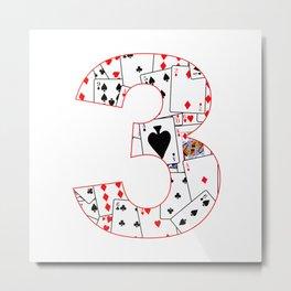 Number Three Cards Metal Print