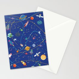 Space Rocket Pattern Stationery Cards