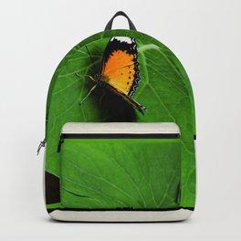 Orange Butterfly on Green Leaf Backpack