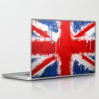 british flag Laptop & iPad Skins featuring BRITISH FLAG by Sophie
