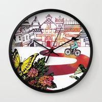 cycling Wall Clocks featuring Summer Cycling by Natsuki Otani