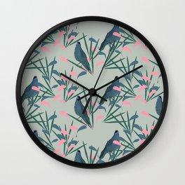 Kokako Wallpaper Pattern Wall Clock