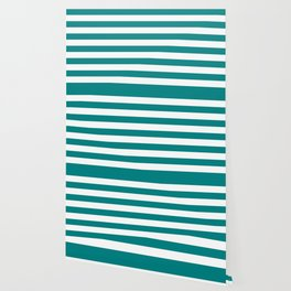 Horizontal Stripes (Teal/White) Wallpaper
