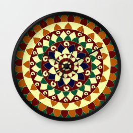 Mandala in brown and blue Wall Clock