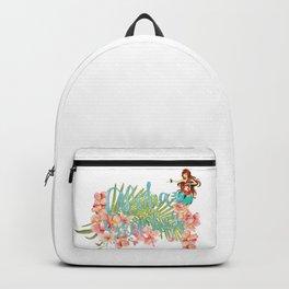Aloha- Alohabeaches with tropical flowers Palm leaf and Hula Girl Backpack
