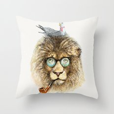 Lion sailor & seagull Throw Pillow