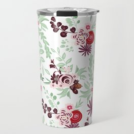 Abstract red pastel green pink country floral pattern Travel Mug