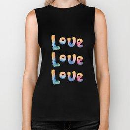 Love - Word By Watercolor On Wight Background Biker Tank