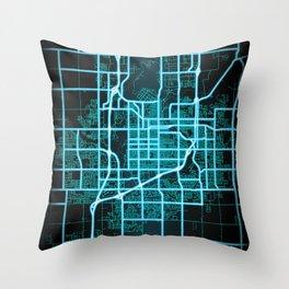 Sioux Falls, SD, USA, Blue, White, Neon, Glow, City, Map Throw Pillow