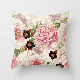 Vintage & Shabby Chic Pink Floral Peonies Flowers Watercolor Pattern Throw Pillow