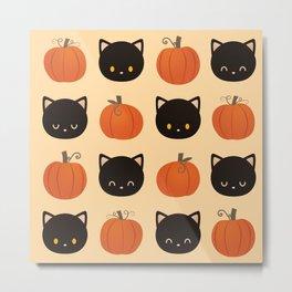 Pumpkin Cat Pattern Metal Print