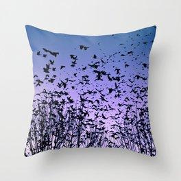 Blue sky birds freedom flight Throw Pillow