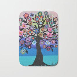 Whimsical Blooming Love Tree of Life Painting Bath Mat