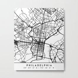 PHILADELPHIA PENNSYLVANIA BLACK CITY STREET MAP ART Metal Print