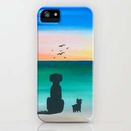 Puppies on Beach at Sunset iPhone Case
