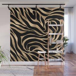 Elegant Metallic Gold Zebra Black Animal Print Wall Mural
