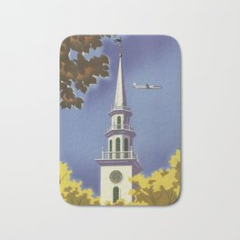 New England, United Air Lines - Vintage Poster Bath Mat