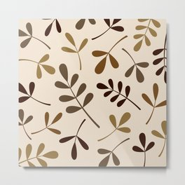 Assorted Leaf Silhouettes Gold Browns Cream Metal Print