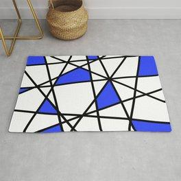 Geometric Modern triangles - white blue Rug