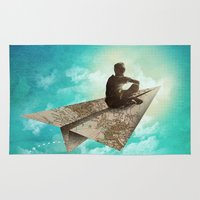 paper Area & Throw Rugs featuring Paper Aeroplane by dan elijah g. fajardo