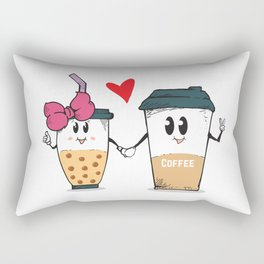 Miss.Bubble Milk Tea and Mr.Coffee say Hello for everyone Rectangular Pillow