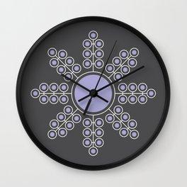 Minimalist Floral Circle, Lavender, Charcoal Black Wall Clock