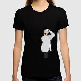 Girl in fluffy fur T-shirt