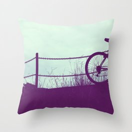 fence and bike Throw Pillow