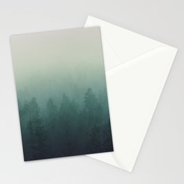trees in fog forest landscape photography - cloudy nature Stationery Cards