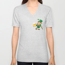 St Patrick leprechaun with cup of beer and cane Unisex V-Neck