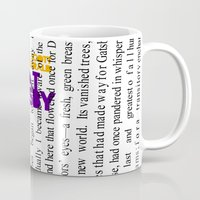 fitzgerald Mugs featuring The Great Gatsby - F. Scott Fitzgerald / Book Cover Art Poster  by FunnyFaceArt