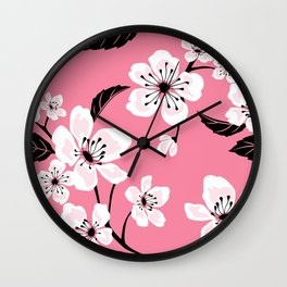 Light Pastel Pink & White Sakura Cherry Tree Flower Blooms - Aloha - Hawaiian Floral Pattern Wall Clock