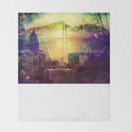 Abstract City Scape Throw Blanket