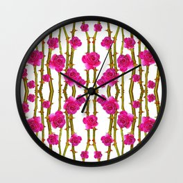 "FUCHSIA PINK ""ROSES & THORNS"" WHITE ART Wall Clock"