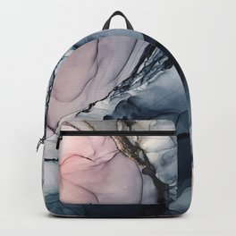 Blush, Navy and Gray Abstract Calm Clouds Backpack