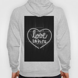 Love 24 Hours (Black and White) Hoody