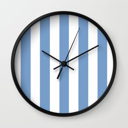 Dark pastel blue - solid color - white vertical lines pattern Wall Clock