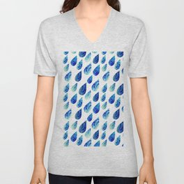 watercolor rain drops, seamless background with stylized blue raindrops Unisex V-Neck