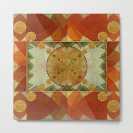 """""""Orange Greenery Mountains Mandala"""" Metal Print"""