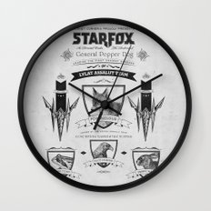 Star Fox Vintage Poster Geek Line Artly Wall Clock
