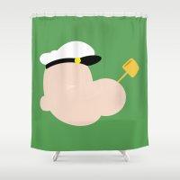 popeye Shower Curtains featuring 4menSmoking - Popeye by blaf