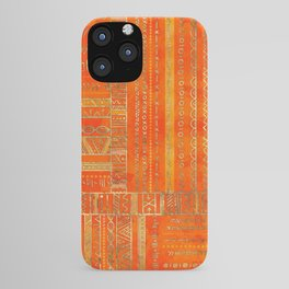 Tribal Ethnic pattern gold on bright orange iPhone Case