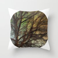 psychadelic Throw Pillows featuring Psychadelic Tree by Jeanne Hollington